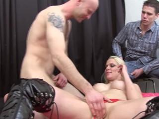 Big Tit Busty Blonde MILF Gets Fucked While her Boyfriend Watches