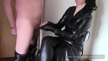 Handjob in long leather coat (SAMPLE)