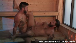 RagingStallion Hot Hairy Daddy Adam Ramzi Fucked In Sauna