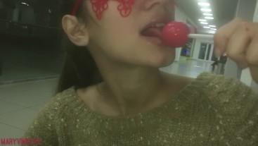 Teen sucks a Lollipop at the Mall (pg) - MaryVincXXX