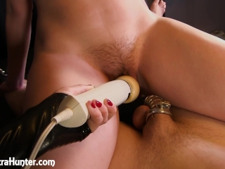 Mistress Makes Wife Cums While Husband Locked in Chastity