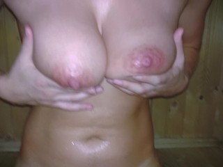 Sister in public sauna plays with big saggy natural tits and hairy pussy