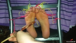 Hysterical agony for ticklish sensitive tied feet and toes (gagged tickled)