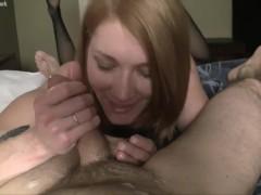 Fit Redhead Tortures Her Boyfriends Cock. No Cum For Him!