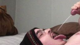 Straight Guy Moans & Cums Right On His Face and Into His Mouth on Cam!