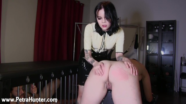 Wife spanked while husband watches Submissive wife gets spanked by mistress while husband watches