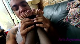 Aria get's Tickled and gives Pantyhose Footjob Video Preview