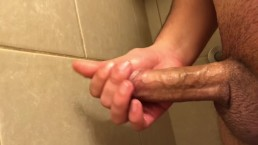 Jerking in the shower until my dick drips with cum