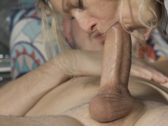 MILF sucks and rides husband's best friends cock and gets a creampie 4K