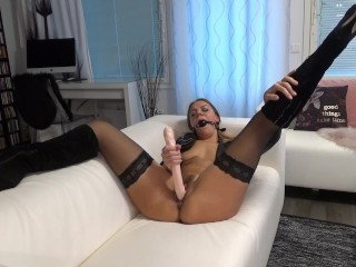 Dirty MILF fucks herself with huge dildo till she cums multiple times