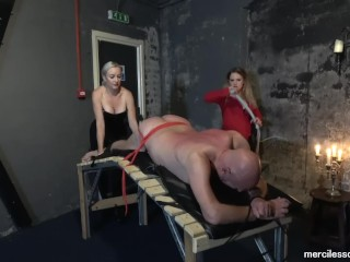 You Cant Get Away - Miss Jessica Wood and Miss Hunter Whipping Loud Slave