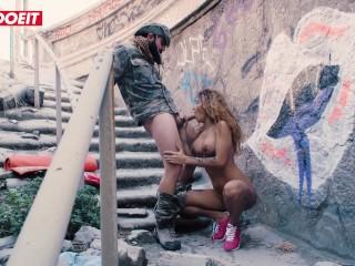Tattoed Latina Beauty Venus Afrodita fucked on old stairs #LETSDOEIT