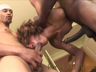 freaky black girl sucking 5 black cocks