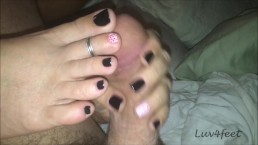 Luv4feet - Handjob and Foot Play Black with Orange Polka Dots