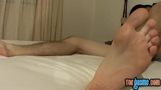 Reaves feet cooper solo shows off skinny stroking while feet big