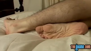 Skinny Cooper Reaves shows off feet while stroking solo European finger