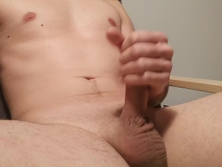 slim guy jerking off his dick with cumshot