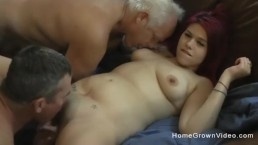 Thick redhead amateur fucked by two hung old men