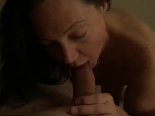 Baby girl sucks my limp cock untill I get hard and face fuck her cum