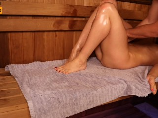 Oil Massage in Sauna, Young Girl Twice Got Orgasm | MASSAGE2018