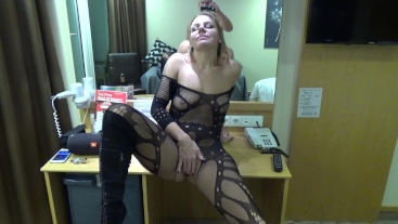 Slutty MILF gets fucked on the cabins table