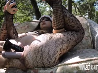 Foxyladysabrina double fisting and dildo fucking her huge pussy, sicflics adult toys kink fisting double