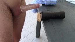 Fucking the toy and make a huge cum