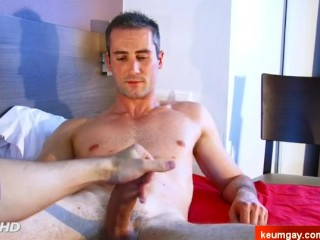 Handsome straight neighbour gets wanked is big cock in spite of him.