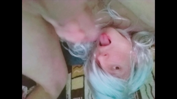 Teen Femboy Cums in His Own Mouth and Swallows - Self Facial