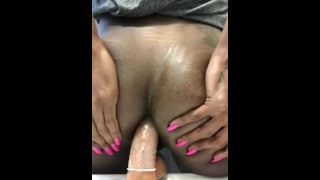 Dildo ts publicprincess ass bouncing chocolate on ts boypussy