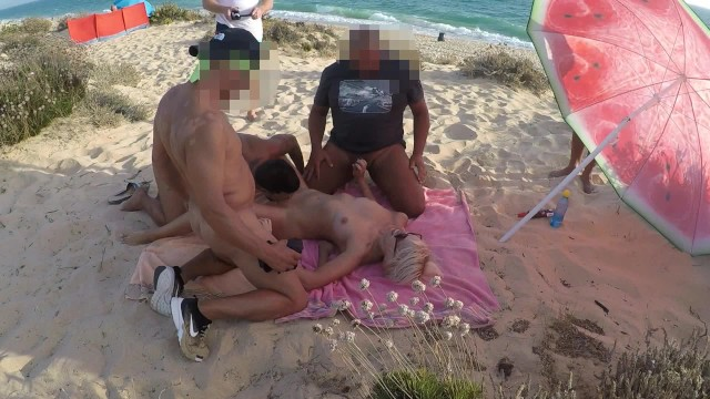 Pussy orgasm on cock 5 cocks and 1 pussy gangbang at the beach.
