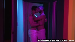 RagingStallion Horny Muscle Hunks Sneak A Blowjob In The Hall