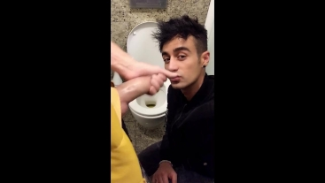 Someone came, but at the second time he finally swallows PUBLIC TOILET