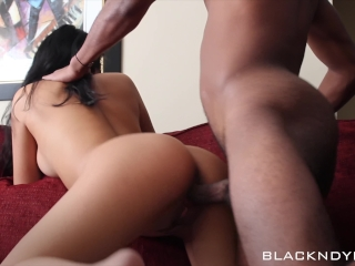 Blasian Couple - Asian Reverse Cowgirl and Doggy Style BBC on Couch