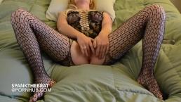 Dresses up Slut plays with dildo