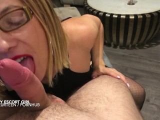 Hot escort girl fucked and face covered by a nice massive cumshot. POV