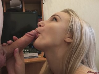 Watch What Your Mommy Does Cute Blowjob From Teen Girl Stacy Cum in Mouth & Swallow