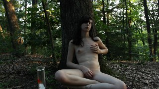 Tgirl Smoking and Coughing In the Woods