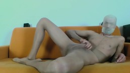 YOUNG GUY MASTURBATE AND CUM ON TAN PANTYHOSE ENCASEMENT