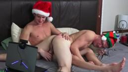 Santa and Elf Spank Suck and Cum