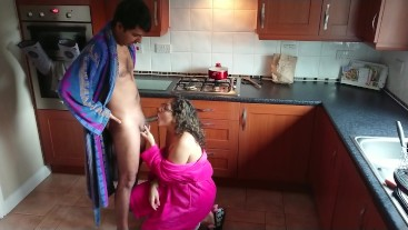 Wife interrupted while cooking and told to give blowjob with swallow