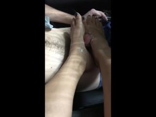 Sexy Latina Carwash Footjob