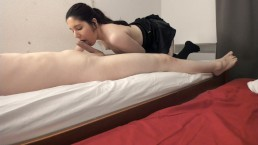 Little horny maid gives blowjob and balljob with care