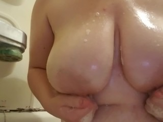 Playing with my big soapy tits