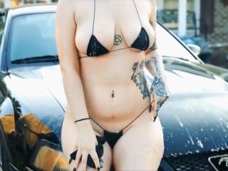 Black String Bikini Car Wash HD