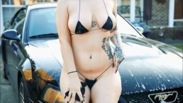 Black String Bikini Car Wash HD
