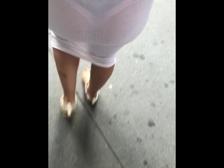Wife window shopping in see through dress