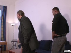 Old husband watches guy fucks his young wife from behind