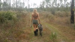 florida country blonde gal nice legs booty shorts hiking near river