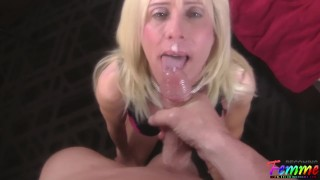 mature blonde crossdresser goes wild while getting fucked